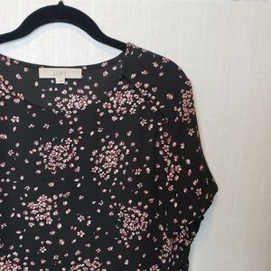◇LOFT | Floral Patterned Black Short Sleeve Blouse